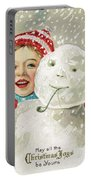 Boy With A Snowman Portable Battery Charger