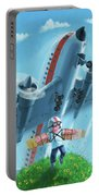 Boy With Airplane On Hilltop Portable Battery Charger by Martin Davey