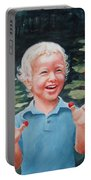 Boy With Raspberries Portable Battery Charger