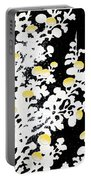 Branches Of White Yellow Leaves And Flowers At Night, Black Background Portable Battery Charger