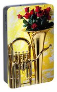 Brass Tuba With Red Roses Portable Battery Charger