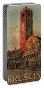 Brescia, Italy - Birds Flying Around Tower - Retro Travel Poster - Vintage Poster Portable Battery Charger