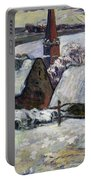 Breton Village Under Snow Portable Battery Charger by Paul Gauguin