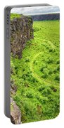 Bright Green Asbyrgi Canyon In Iceland Portable Battery Charger