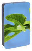 Bright Green Fig Leaf Against The Sky Portable Battery Charger