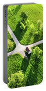 Bright Green Spring Meadow Aerial Photo Portable Battery Charger
