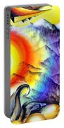 Bright Rainbow And Mountains. Cyborg's Land Portable Battery Charger