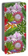 Brightly Colored Tropical Flowers And Ferns  Portable Battery Charger