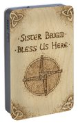 Brigid's Cross Blessing Woodburned Plaque Portable Battery Charger