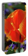 Brilliant Bright Orange And Red Flowering Tulips In A Garden Portable Battery Charger