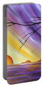 Brilliant Purple Golden Yellow Huge Abstract Surreal Tree Ocean Painting Royal Sunset By Madart Portable Battery Charger