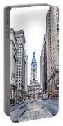 Broad Street Facing City Hall In Philadelphia Portable Battery Charger