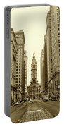 Broad Street Facing Philadelphia City Hall In Sepia Portable Battery Charger