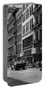 Broadway, New York In Black And White Portable Battery Charger