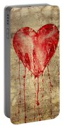 Broken And Bleeding Heart On The Wall Portable Battery Charger