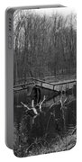 Broken Bridges In Black And White Portable Battery Charger