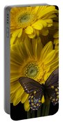 Brown Butterfly On Yellow Daisies  Portable Battery Charger