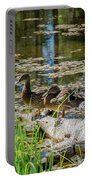 Brown Ducks On Log Portable Battery Charger
