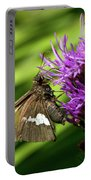 Brown Moth On Pink Portable Battery Charger
