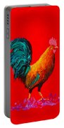 Brown Rooster On Red Background Portable Battery Charger