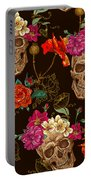Brown Skulls And Flowers Portable Battery Charger