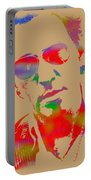 Bruce Springsteen Watercolor Portrait On Worn Distressed Canvas Portable Battery Charger