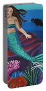 Brunette Mermaid With Turquoise Tail Portable Battery Charger