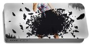Brunette Pin-up Woman In Gorgeous Feather Skirt Portable Battery Charger