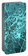 Brussels Traffic Abstract Blue Map And Cyan Portable Battery Charger