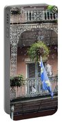 Bubbles Blow From An Ornate Balcony In New Orleans At Mardi Gras Portable Battery Charger