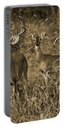 Buck And Doe In Sepia Portable Battery Charger
