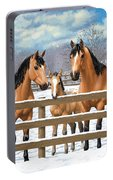 Buckskin Appaloosa Horses In Snow Portable Battery Charger by Crista Forest