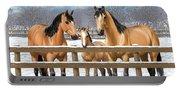 Buckskin Quarter Horses In Snow Portable Battery Charger