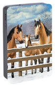 Buckskin Quarter Horses In Snow Portable Battery Charger by Crista Forest