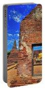 Buddha Doorway At Wat Worachetha Ram In Ayutthaya, Thailand Portable Battery Charger