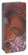 Buddha With Pink Lotus Portable Battery Charger by Prerna Poojara