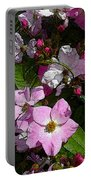 Buds And Petals- Pink Roses- Rose Bush- Floral Art Portable Battery Charger