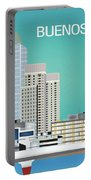 Buenos Aires Argentina Horizontal Skyline - Blue Portable Battery Charger