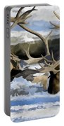 Bull Elk Fighting  Portable Battery Charger