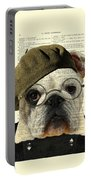 Bulldog Portrait, Animals In Clothes Portable Battery Charger