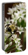 Bumble Bee On Wild Onion Flower Portable Battery Charger