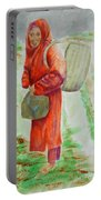Bundled And Barefoot -- Portrait Of Old Asian Woman Outdoors Portable Battery Charger