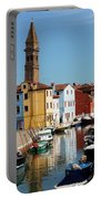 Burano An Island Of Multi Colored Homes On Canals North Of Venice Italy Portable Battery Charger