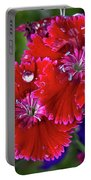 Burgandy Red Dianthus Portable Battery Charger