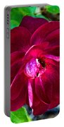 Burgundy Red Rose At Pilgrim Place In Claremont-california  Portable Battery Charger