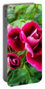 Burgundy Rose And Rose Bud Portable Battery Charger