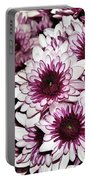 Burgundy White Crysanthemums Portable Battery Charger