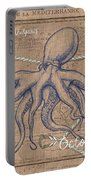Burlap Octopus Portable Battery Charger by Debbie DeWitt