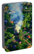 Burnin Down The House Aerial Single Family Home On Fire  Portable Battery Charger