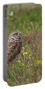 Burrowing Owl And Flowers Portable Battery Charger